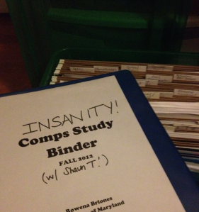 My comps study materials - a huge binder, and a filing system of articles!